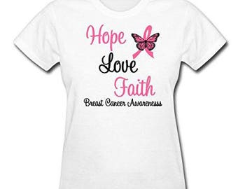 Breast Cancer Awareness, Breast Cancer Shirt, Hope Love Faith Shirt, Breast Cancer Support, Breast Cancer Charity