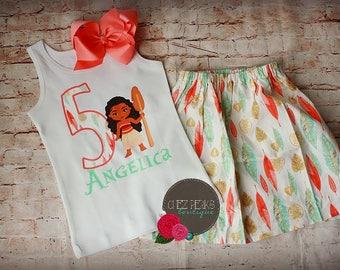 Personalized Moana Skirt Set, Moana Birthday , Moana Birthday shirt , Moana Birthday outfit , Moana Birthday party , Birthday shirt