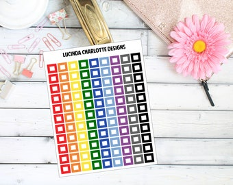 Check Box/Tick Box - Rainbow Functional - Planner Stickers