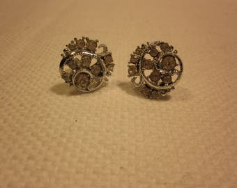 Vintage screw-back rhinestone earrings