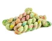 Mini Skeins, Hand Dyed Yarn, Sock Weight, Superwash Merino Wool Yarn, Knitting Yarn, Sock Yarn, Multi-colored, rainbow, green - Limeade