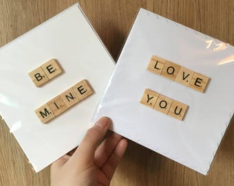Valentines scrabble cards