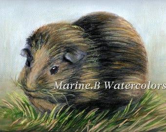 Watercolor Guinea Pig Art Print 8 x 10 in