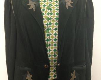 Incredible 80s Austrian green suede jacket