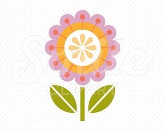 PURPLE ORANGE FLOWER Clipart Illustration for Commercial Use | 0067