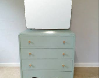 Vintage chest of drawers, dressing table & mirror upcycled and paint in duck egg blue