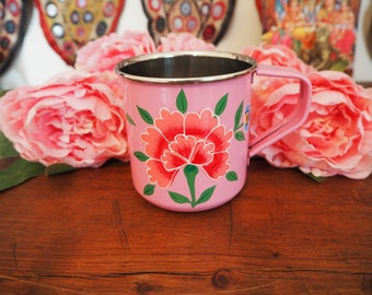 Hand Painted Kashmir Enamelware Gypsy Hippie Shabby Chic Floral Glamping Camping Picnic Mug Cup
