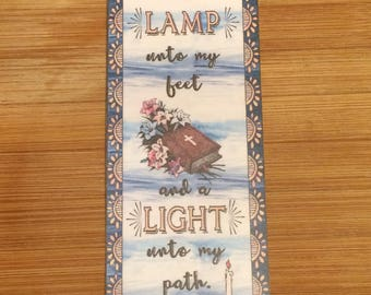 Bible Verse Bookmark - Psalm 119:105 -  handmade WITHOUT tassel  (stock #13)