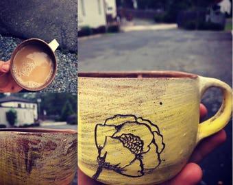 Yellow dahlia mug,  yellow floral coffee mug
