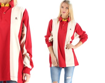 Tommy Hilfiger Long Sleeve Polo Rugby Shirt 90s Striped Cotton Hilfiger Shirt Tommy Polo Shirt Hilfiger Athletics Tommy Sport Red White XL