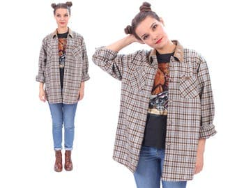 Wool Plaid Shirt 70s Flannel Plaid Jacket Blue White Brown Contrast Collar 1970s Lumberjack Button Up Long Sleeve Vintage Tartan Large