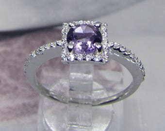 Decorated with natural Amethyst silver ring size 54