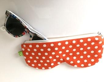 Glasses case, orange polka dots