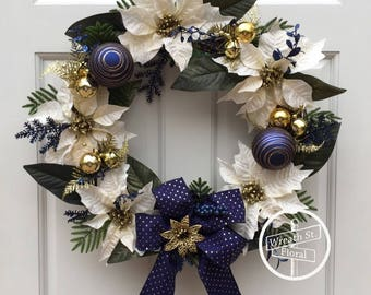 Christmas Wreath, Holiday Wreath, Poinsettia Wreath, Front Door Wreath, Wreath Street Floral, Blue Gold Wreath, Winter Wreath, Grapevine