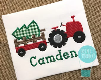 Christmas Tractor Applique Shirt / Christmas Tree Applique / Toddler Christmas / Boy Christmas / Personalized Christmas / Christmas Outfit