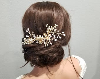 CLAIRE | Gold Bridal Hair Comb with Crystal and Pearls - Free Shipping