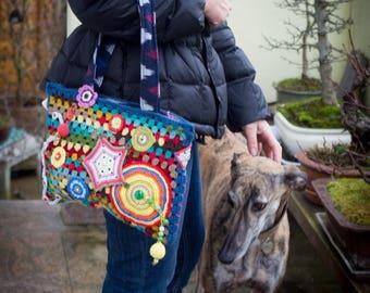 """""""Rosy"""" handbag vintage style, multicolor"""
