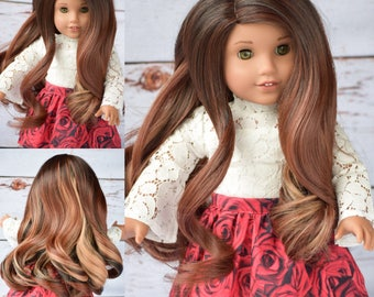 "Custom Doll Wig for 18"" American Girl Doll  - Heat Safe - Tangle Resistant - fits 10-11.5"" head size of all 18"" dolls Gotz Our Generation"