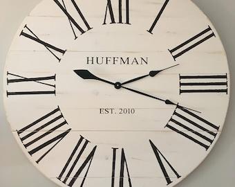 Farmhouse Clock 36 inch, off white, distressed