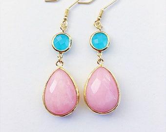 Glass Drop Earrings, Crystal Dangle Earrings, Chandelier Earrings, Teardrop Earrings, Gold Earrings