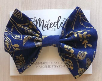Rifle Paper Co. gold and navy floral fabric bow