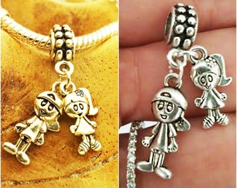 Silver Boy girl Brother sister son daughter charm pendant for European Charm Bracelets & any chain necklace