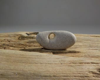 Naturally Holed Beach Stone -Beautiful  Hag Stone - Pebble with natural hole - Decorative Beach Find - Odin Stone Talisman #59