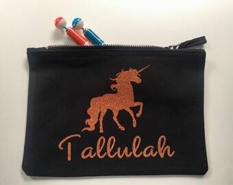 Personalised Unicorn Washbag / Pencil Case / Make Up Bag Sparkly Copper / Rose Gold
