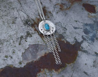 Turquoise Nugget Necklace // Sterling Silver