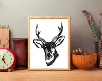 Antler Wall Art, Stag Art Decor, Printable Wall Art, Instant Download, Digital Art Print