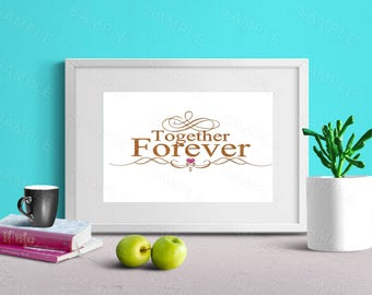 Together Forever, Gold Glitter, Wall Art, Art Decor, Printable Wall Print, Instant Download, Digital Art Print, Valentine's Day