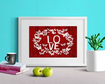 Love Printable Art, Red Print, Butterflies Wreath, Wall Art, Wall Decor, Instant Download, Digital Art, 8 x 10