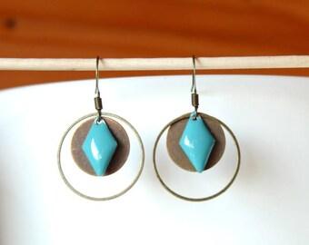 Bronze earrings enamel blue and round diamond