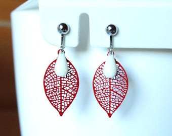 Silver leaf filigree red and cream white enamelled sequin drop clip earrings