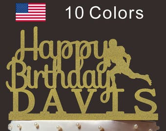 Personalized Happy Birthday Cake Topper, Custom Football Cake Topper, Cardstock Cake Topper, Create Your Own! Custom Name, Any Name, PT015