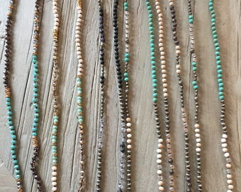 Knotted beaded necklace