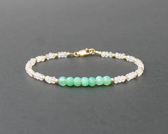 Chrysoprase and Moonstone Bracelet, Mint Green Bracelet, Chrysoprase Jewelry, Moonstone Bracelet, Chrysoprase Bracelet
