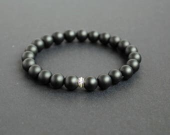 Unisex black jewelry Black gemstone stretch bracelet Boyfriend black gift Matte black stone bracelet Black men bracelet Shungite bracelet