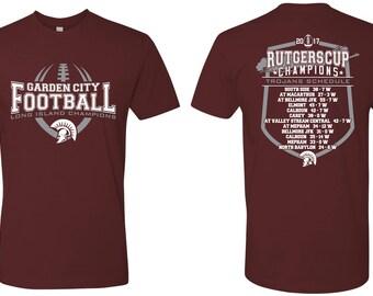 Unisex Tees - Garden City - High School - Football - Trojans - GCHS - Long Island Champions - Rutgers Cup - Design 1