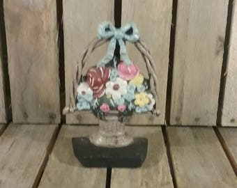 Vintage Doorstop, Flower Basket Door stop, Vintage Doorstopper