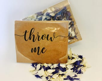 Flower petal confetti - navy blue & off white petals - biodegradable - calligraphy 'throw me' kraft packet - vintage weddings