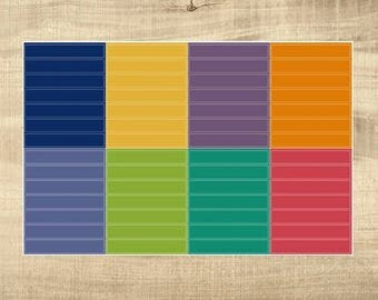 8 Multi-Coloured Blank Header Stickers for Erin Condren LifePlanner