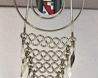 Native American Dangle Earrings Silver Navajo Handpainted Tribal Design Vintage 1970's
