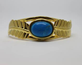 Blue Howlite Feather Cuff Bracelet ; Gold Plated Brass Cuff Bracelet