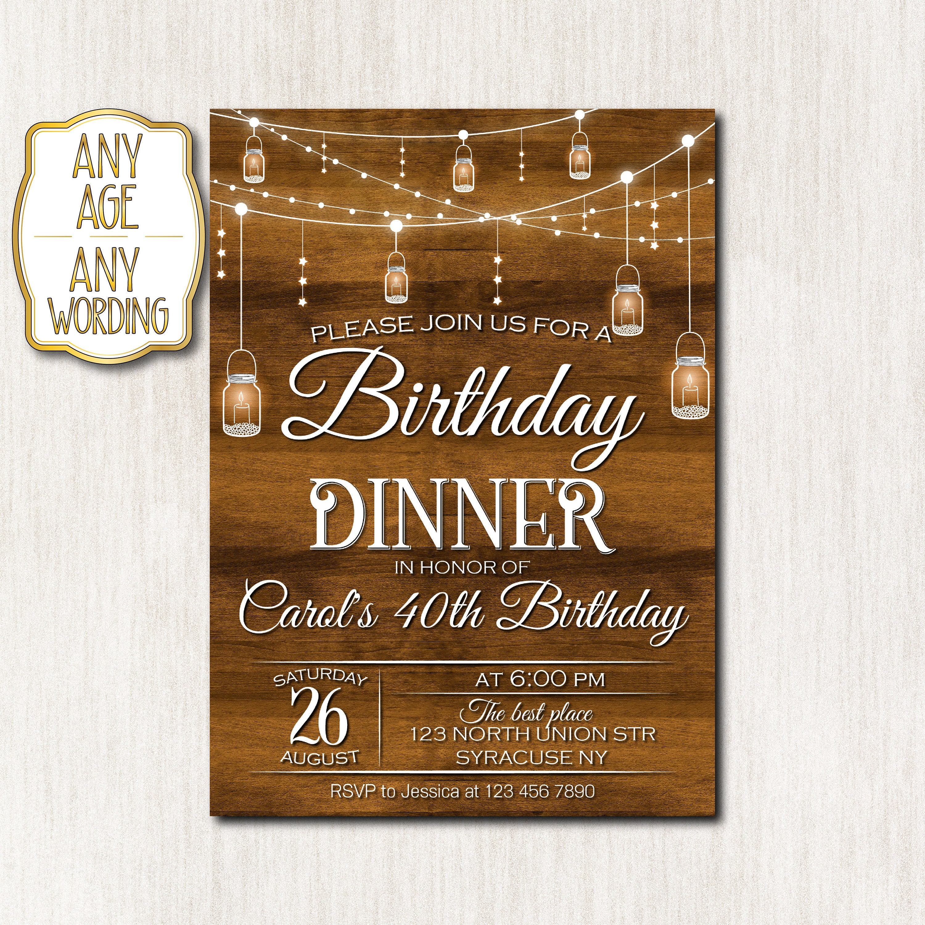 Birthday Dinner Invitation Birthday Dinner Party Rustic