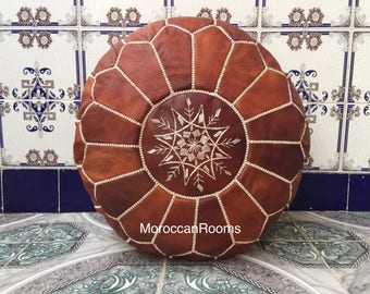Moroccan leather Pouf Z02