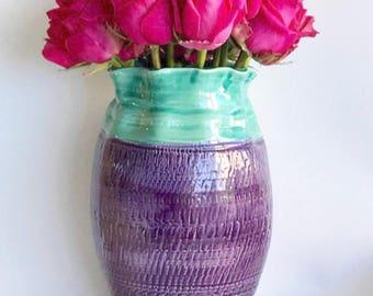 Handmade Wheelthrown Large Ceramic Flower Vase in Green and Purple