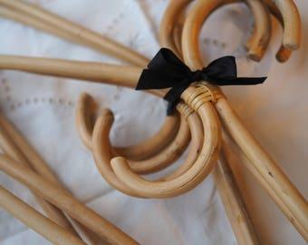 Vintage rattan hangers, brides hanger, bamboo hangers, rattan clothes hangers, bridesmaid gift, Farmhouse decor, bohemian, beach house decor