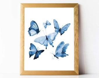 Blue Butterflies Print PRINTABLE | Blue Butterfly Print INSTANT DOWNLOAD Printable Butterfly Wall Art | Watercolor Butterfly Print Set