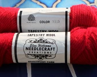 Vintage Elsa Williams Tapestry Yarn/ Red/ 100% Wool/ Needlepoint